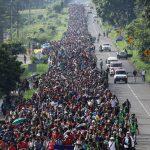Caravana migrante cerca de Ciudad Hidalgo, México después de haber cruzado la frontera de Guatemala. 21 de octubre, 2018. Foto: John Moore/Getty Images.