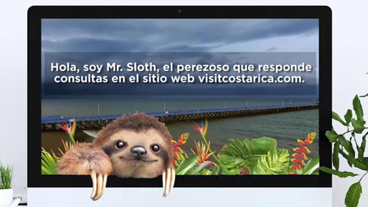 Perezoso virtual atenderá las dudas de los turistas en Costa Rica