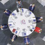 Angela Merkel, Justin Trudeau, Donald Trump, Emmanuel Macron, Giuseppe Conte, Shinzo Abe, Boris Johnson, y el presidente del Consejo Europeo Donald Tusk durante su primera reunión de trabajo en la cumbre del G7. Biarritz, Francia. 25 de agosto, 2019. Foto: Notimex.
