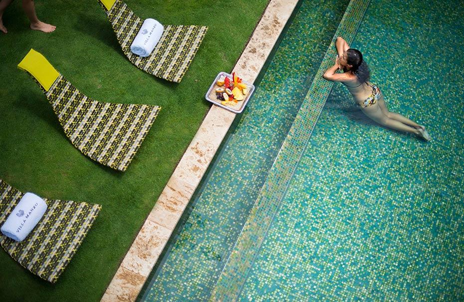 El diseño de sus espacios brindará el relajamiento que las celebridades buscan siendo sus piscinas de lo más popular. Foto: Cortesía Villa Manzu.
