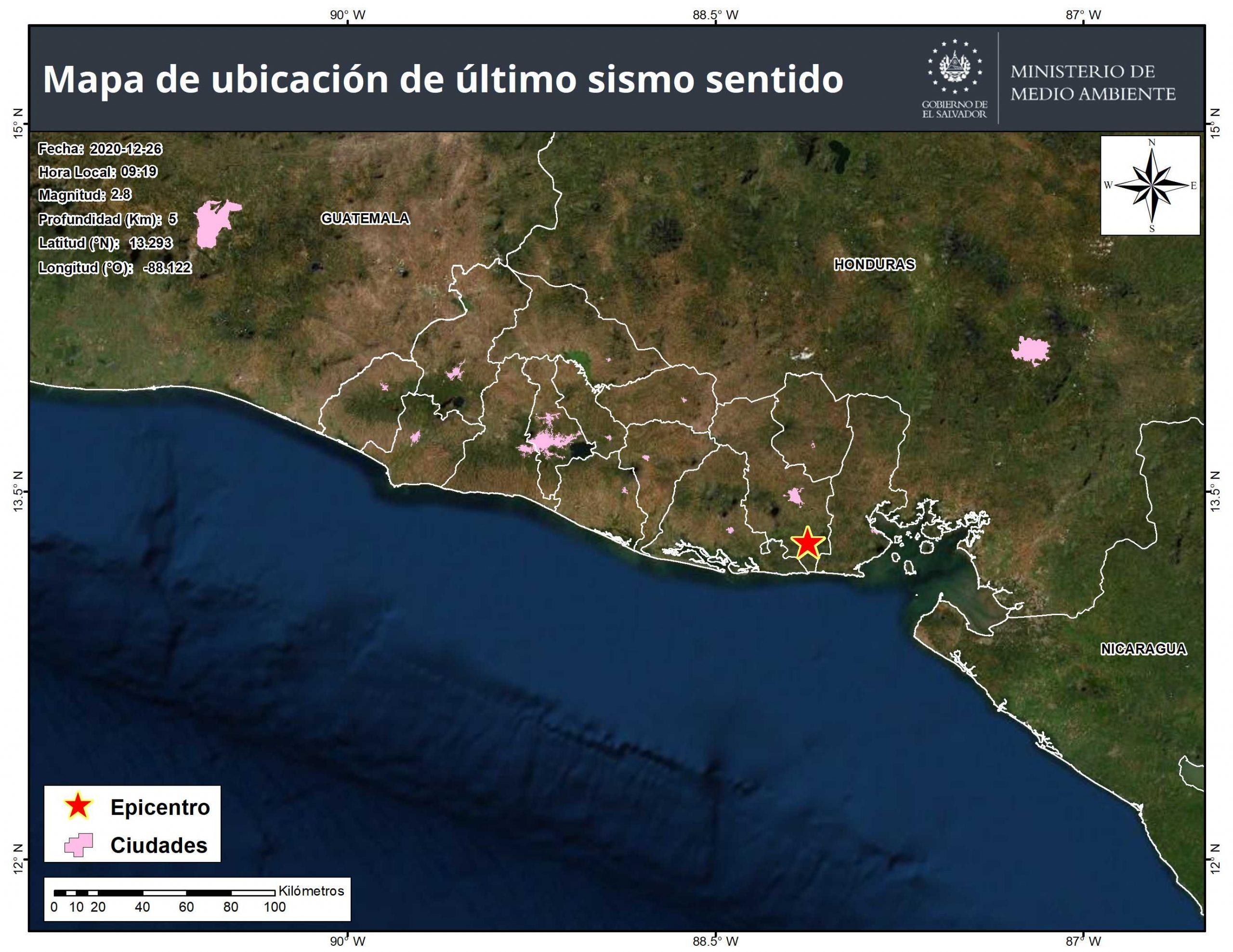 Aumentan a 70 los sismos registrados entre 2 ciudades en este de El Salvador