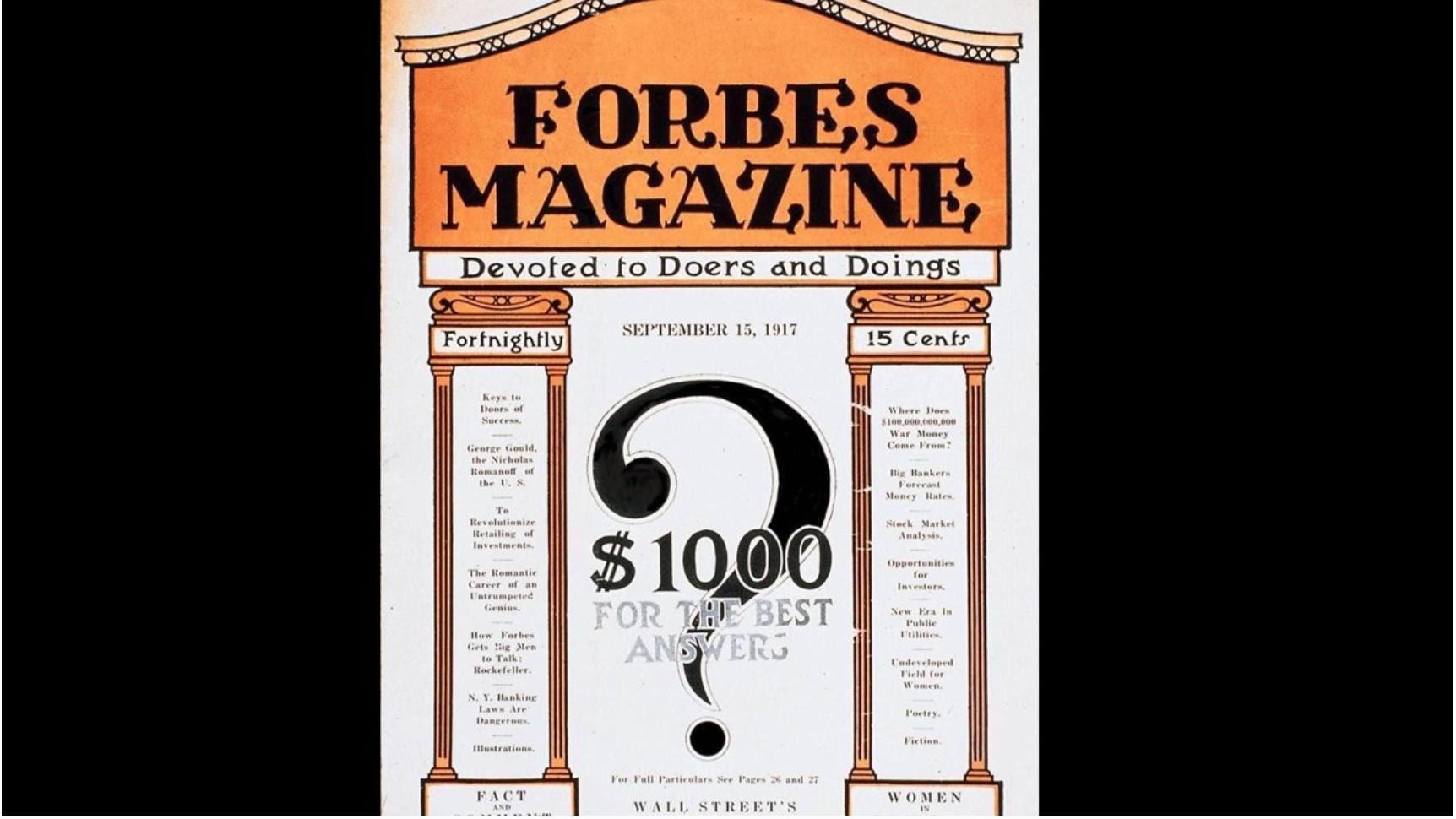 Hace 104 años se publicó el primer número de la revista Forbes